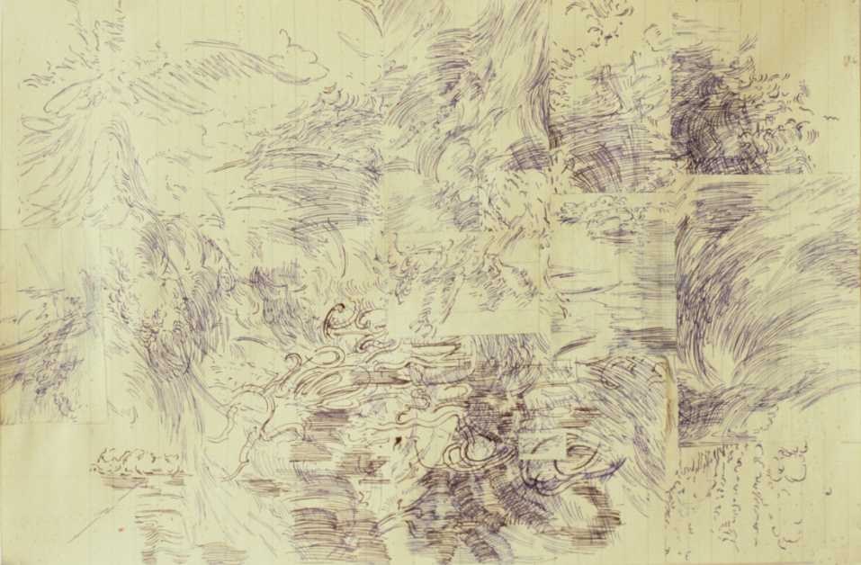 Pond, ballpoint pen on ledger paper, 8.5 x 13.125 inches, 1976.