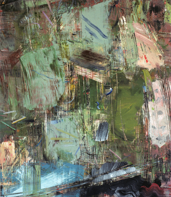 Untitled 8, oil and wax on masonite board, 14 x 11 7/8 inches, 1976.