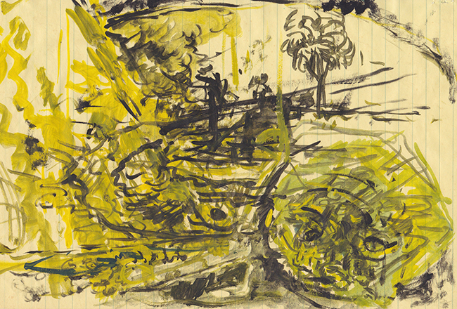 In the Jungle, indian ink and oil paint on ledger paper, 8 x 12.5 inches, 1978.
