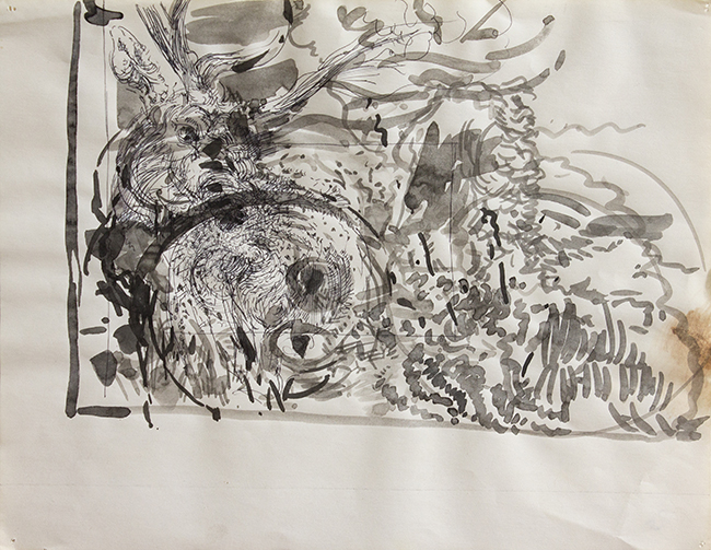 Stag, ballpoint pen and indian ink on paper, 8.5 x 11 inches, 1978. Collection of the artist.