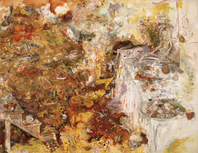 In the Middle of the Room, oil on canvas, 72 x 92.25 inches, 1985-86. Private Collection.
