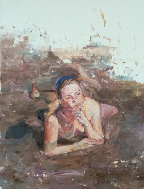 Agnese, oil on gessoed paper, 38 x 34 inches, 1990. Private collection.