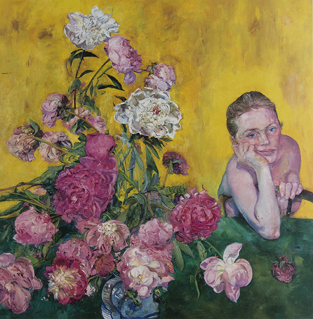 Peonies, oil on canvas, 42 x 41 1/2 inches, 1990. Private collection.