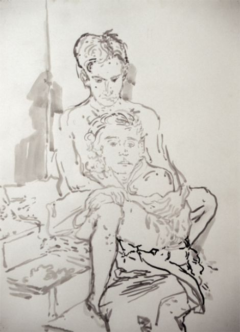 Andrea and Nick, study for Titorelli's Studio, ink and water on paper, 30 x 24 inches, 1991.