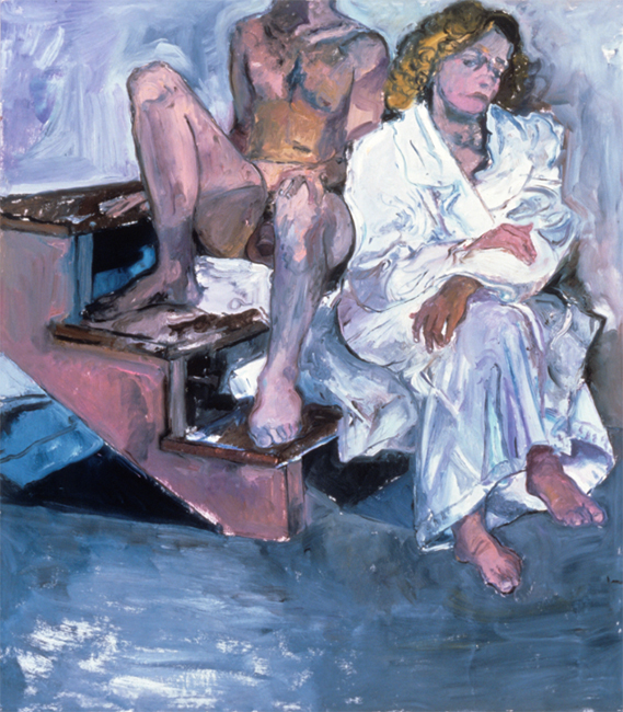 Nick and Andrea for Titorelli's Studio Five, oil on gessoed paper, 54 x 47 1/2 inches, 1991.