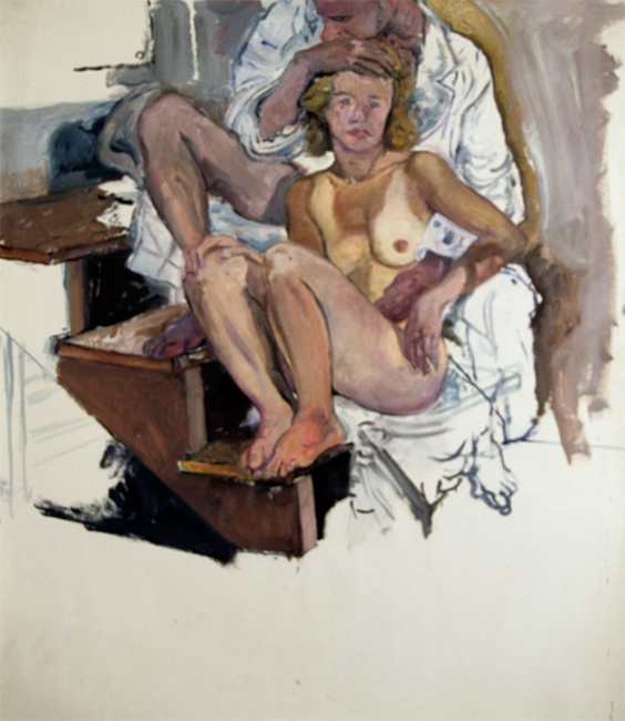 Nick and Andrea for Titorelli's Studio Four, oil on gessoed paper, 53 3/4 x 47 1/2 inches, 1991.