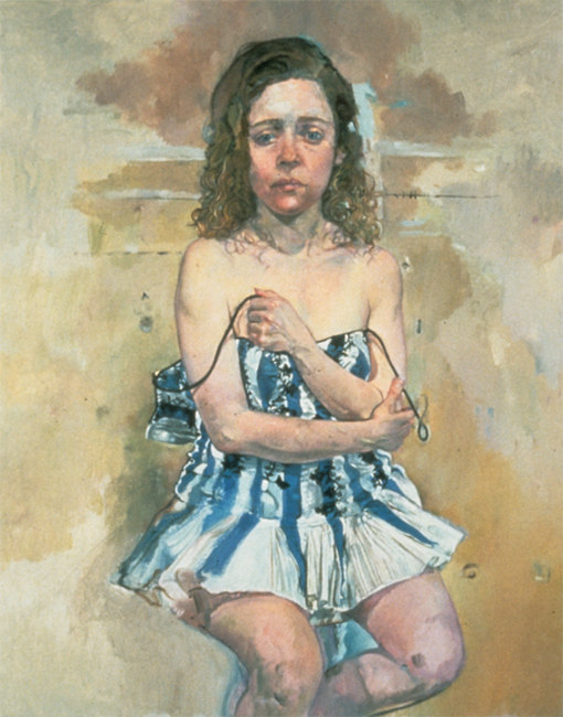 Andrea - Tante Anna's Bathing Suit, oil on canvas, 36 x 24 inches, 1994.