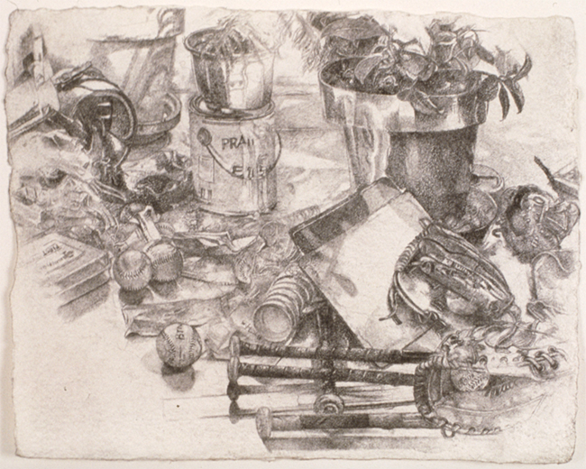 Balls and Bats, pencil and charcoal on paper, 2001. Collection of Will Santore.