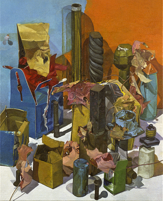Time to Go, oil on linen mounted on plywood panel, 20 x 16 inches, 2002-03.
