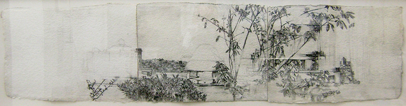 View From the Roof Garden on 36th Street, graphite on watercolor paper, 12.25 x 50 inches, 2005.