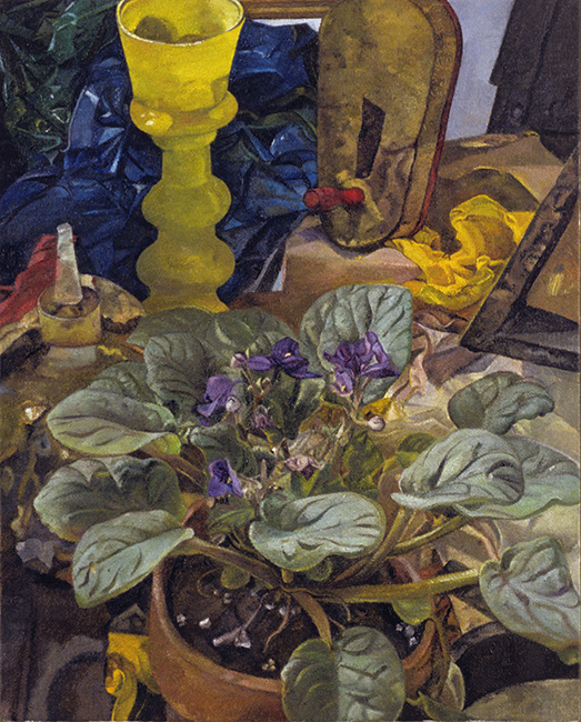 Still Life with African Violet, oil on linen, 15 x 12 inches, 2006. Collection of the Figge Art Museum, Davenport, IA.