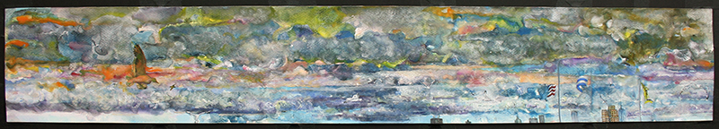 After the Storm, watercolor and gouache on watercolor paper, 6 x 40 1/4 inches, 2012-14