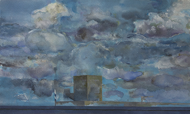 Those Clouds, watercolor and gouache on watercolor paper, 8 7/8 x 14 7/8 inches, 2013