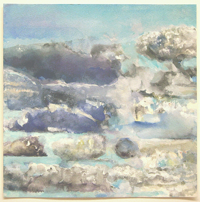 Clouds III, watercolor and gouache on watercolor paper, 7 7/8 x 7 7/8 inches, 2012