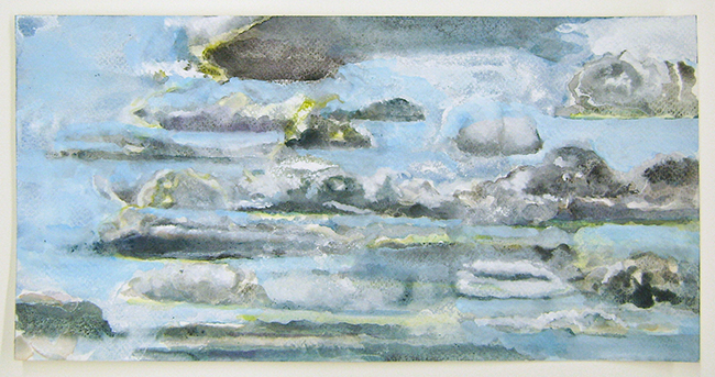 Clouds II, watercolor and gouache on watercolor paper, 6.25x12.75inches, 2012