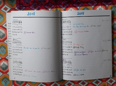 planning annuel du bullet journal de Josette