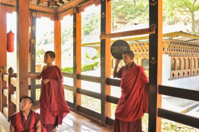 Monks at the Gom Kora temple.