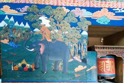 Bhutan - Paro. Mural at entrance of Rinpung Dzong