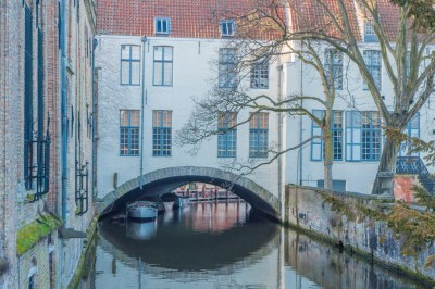 Belgium - Bruges home staddles a canal.