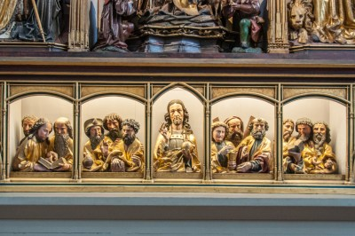 Alsace - Colmar. Base panel of the Isenheim Altarpiece.