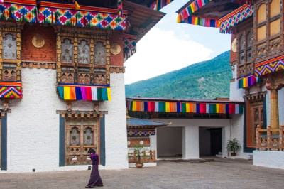 Bhutan - Punakha Dzong decorated for the royal wedding.