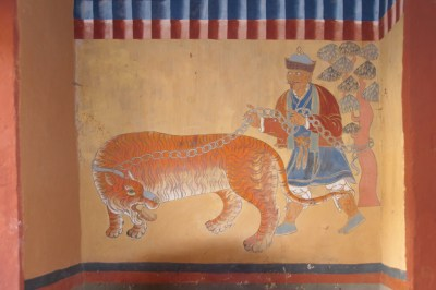 Ancient mural at Wandgi Dzong.