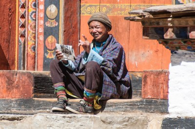 Bhutan. Bumthang Tang Valley villager.