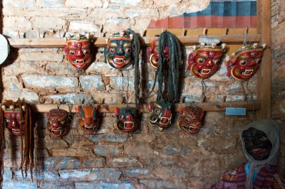 Festival mask dsplay at Ugyen Choling.