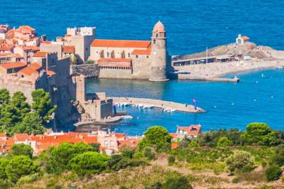 High in the foothills of the Pyrenees, the vineyards offer a panoramic view of the Collioure harbor.