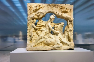 Capitole, Rome, Italy, 100 to 200 A.D., marble relief of Mithra (Iranian Sun Good) sacrificing a bull. Musee du Louvre, Paris, France.