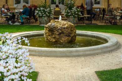 The Café Caumont terrace is a serene retreat on a beautiful Provence afternoon.