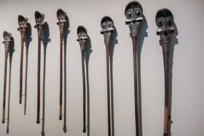 Matahoata - Display of war clubs from Marquesas Islands.