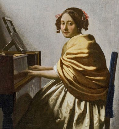 Paris-Louvre, Vermeer Woman at Virginal.