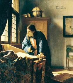 The Astronomer, Oil on Canvas. 50 x 45 cm. (19 5/8 x 17 3/4 in.) Paris,  Musée du Louvre.