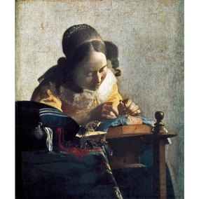 Johannes Vermeer, The Lacemaker. Oil on canvas, 24.5 x 21 cm. (9 5/8 x 8 1/4 in.) Paris, Musée du Louvre.
