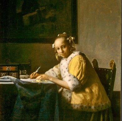 Paris-Louvre, Vermeer Lady Writing.