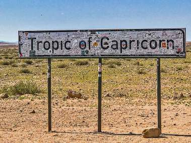 Many visitors feel the need to leave their mark on the Tropic of Capricorn.