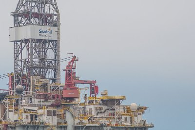 Off-shore drilling rigs come from Angola to Walvis Bay for maintenance and garaging.