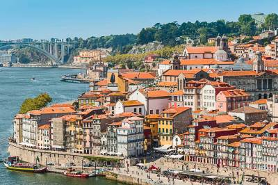 The Gardens of the Crytal Palace dominate the skyline of Miragaia, the historic Jewish quarter of Porto.