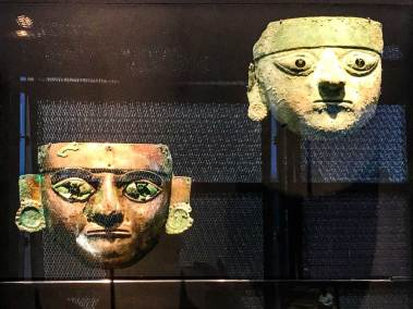 Funeral masks from different periods for high-priestesses of San Jose de Moro.
