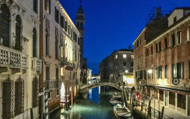 Italy-Venice canal at night