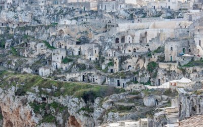 Entire cliffside neighborhoods of Sasso Caveoso have yet to be reclaimed.