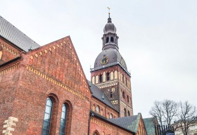 The steeple of the Riga cathedral.