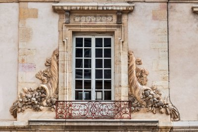 Renaissance architectural detail the historic center of Dijon.