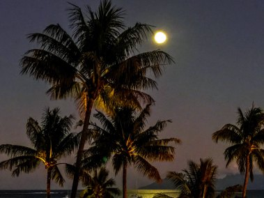 Full moon over Tahiti.