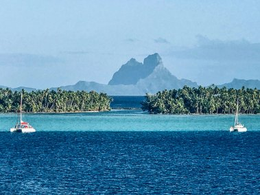 The iconic peak of Bora Bora seen  from the Taha'a lagoon.