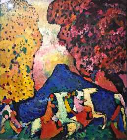 Blue Mountain, Vasily Kandinsky, 1908. Expressionist oil on canvas. (Guggenheim Museum, New York, Solomon R. Guggenheim Founding Collection).