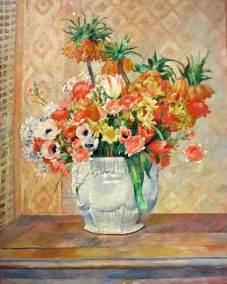 Still life: Flowers, Pierre Auguste Renoir, 1885. Impressionist oil on canvas. (Guggenheim Museum, New York, Thannhauser Collection).