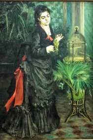Woman with Parakeet, Pierre-August Renoir, 1871. Impressionist oil on canvas (Guggenheim Museum, New York, Thannhauser Collection).