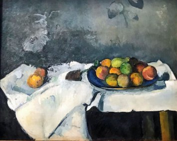 Plate of peaches, Paul Cezanne,  ca. 1879–80. Post-Impressionist oil on canvas (Guggenheim Museum, New York, Thannhauser Collection).